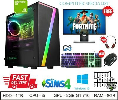 Super FAST Intel Core I5 Gaming PC Bundle 8GB RAM 1TB HDD Windows 10 GT 710 2GB • 279.99£