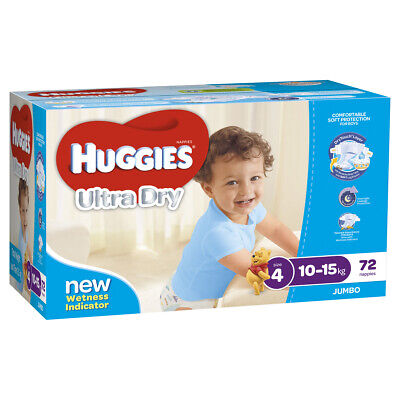 AU62.26 • Buy Huggies Ultra Dry Nappies, Boys, Size 4 Toddler (10 - 15kg), 72 Nappies