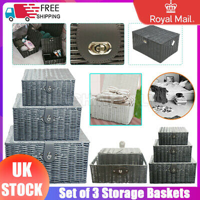 Small Medium Large Hamper Resin  Storage Baskets Boxes Container Woven Unit UK • 18.99£