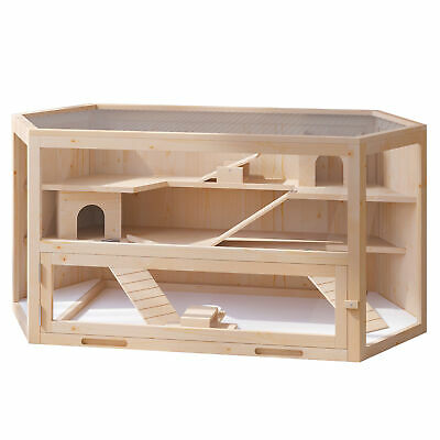 £83.99 • Buy PawHut Large Wooden Hamster Cage Rodent Mouse Pet Small Animal Kit Hut Box
