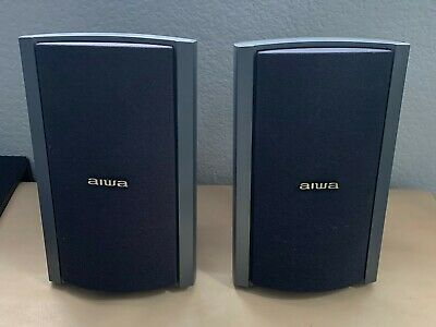 $31.95 • Buy PAIR (2) AIWA Bookshelf SURROUND Speakers Black Model SX-R2500 150w JAPAN VTG