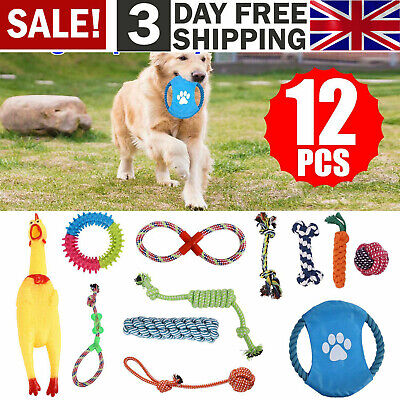 12 Tough Dog Puppy Pet Toy Rope Bundle Teeth Chew Knot Ball Cotton Rope Toys Kit • 13.39£