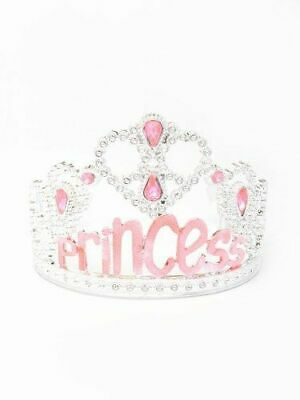 Princess Tiara, Pink, With Wording & Diamantes With Grippers Fancy Dress Up Play • 4.75£