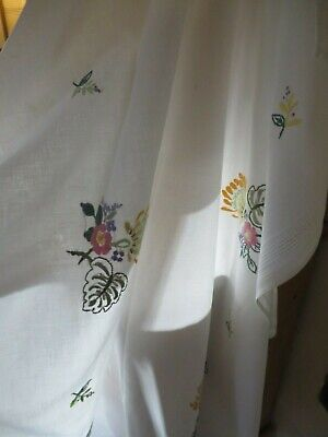 Romantic Vtg.french Hand Embroidered Honeysuckle Table Cloth ~ Country Cottage • 26£