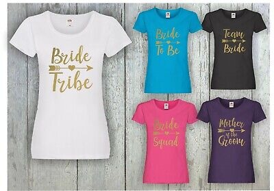 £8.99 • Buy Team Bride Squad Tribe Hen Do Night Party Bridesmaid Printed T-Shirts Gold Print