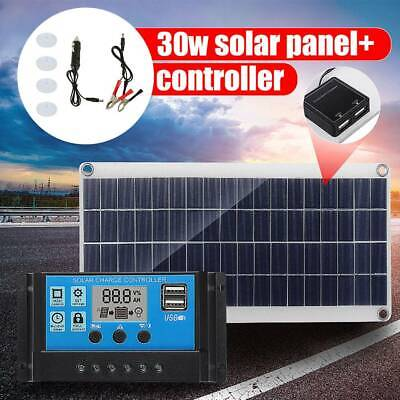 30W 12V Dual USB Solar Panel Flexible Battery Charger Kit Car + 40A Controller • 33.09£