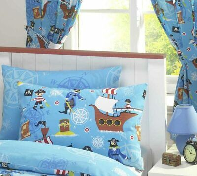 Kids Children's Boys Bedroom Blue Sea Pirates Ships Treasure 72  Drop Curtains • 25.49£
