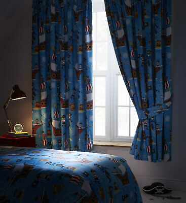 Kids Children's Boys Bedroom Blue Sea Pirates Ships 72  Drop Blackout Curtains • 34.99£