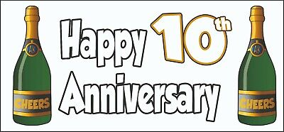 Happy 10th Anniversary Banner X2 - Party Decorations Wedding Celebrations Events • 5.95£