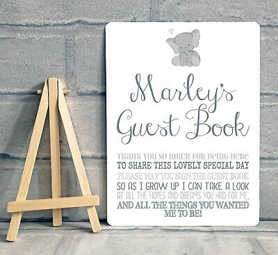 £8.95 • Buy A5 Personalised Christening Guest Book Boy Girl Table Sign Decoration - ELEPHANT