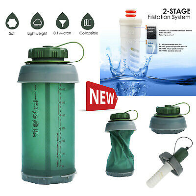 $20.99 • Buy Outdoor Portable 750ml Hollow Fiber UF Collapsible Water Straw Bottle Purifier
