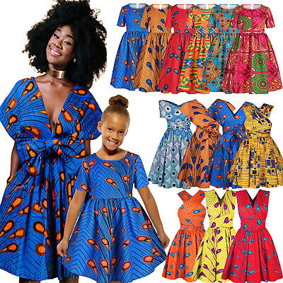 African Mom And Daughter Womens Girls Party Swing Flared Dresses Ankara Designs • 12.63£