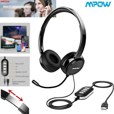 Mpow USB 3.5mm Wired Computer Headset Stereo Headphones Mic For Skype PC Laptop • 26.49£