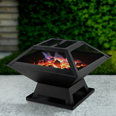 Square Fire Pit With BBQ Grill & Poker Outdoor Garden Heater Patio Decor Brazier • 38.39£