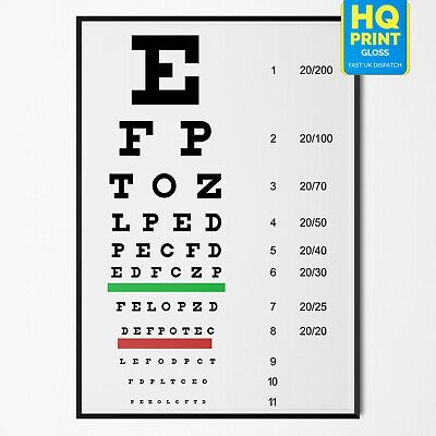Eye Chart Optician Glasses Test Science Poster Print | A5 A4 A3 A2 A1 | • 2.99£