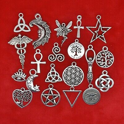 Tibetan Silver Pagan Symbols Wiccan Wicca Celtic Witchcraft Charms Pendants • 2.19£