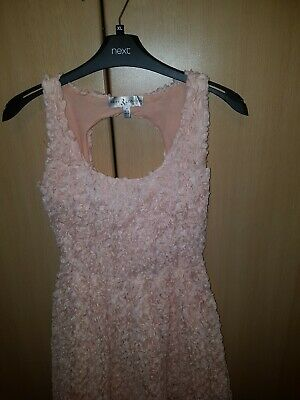 DRESS SIZE 6  XS, LACE IDEAL WEDDING/FORMAL, Side Zip Fastening PEACH COLOUR • 4.50£