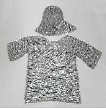 £129.29 • Buy Aluminum Chainmail Shirt+Coif Butted Chain Mail Medieval Armour Halloween