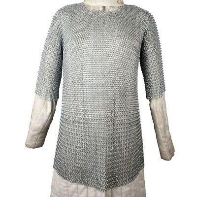£114.69 • Buy Butted Chain Mail Shirt Medieval Chainmail Haubergeon Galvonized Chainmail Armor
