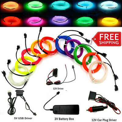 $6.99 • Buy EL Wire Neon LED Light Glow String Strip Rope Tube Decor Car Party + Controller