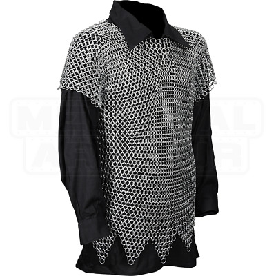 £98.90 • Buy XL Size Butted Aluminum Chainmail Shirt Medieval Chain Mail Haubergeon Costume