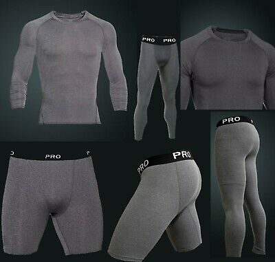 Mens Compression Base Layer Tight, Top And Short Set Sports Slimming XS-XXL Grey • 9.49£