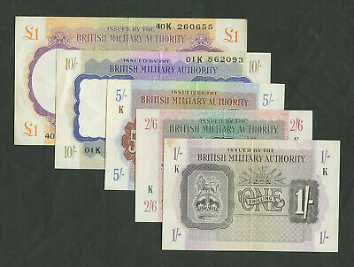 £250 • Buy BRITISH MILITARY AUTHORITY £1 10s 5s 2/6 1s WWII TORCH SET About EF Banknotes