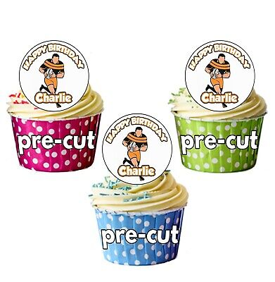 £3.99 • Buy 24 Personalised Rugby Player Birthday Precut Cupcake Toppers Decorations Men Boy