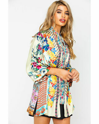 $135 • Buy Johnny Was Sz Small Bonian Floral-Print One Button Silk Twill Kimono Embroidered