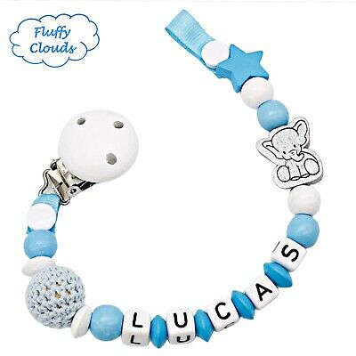 Dummy Clip Personalized Wooden Bead Pacifier Holder Soother Baby Boys Elephant • 7.90£