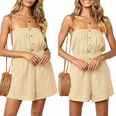 Women Strapless Bandeau Playsuit Holiday Shorts Jumpsuit Summer Casual Rompers • 9.78£