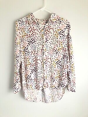 $ CDN31.10 • Buy Jane And Delancey Anthropologie Size L Large White Floral Button Up Shirt Top