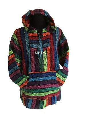 Hoodie Mexican Baja Jerga Drug Rug Jumper Festival Surf Hippie Rainbow Colours • 19.99£