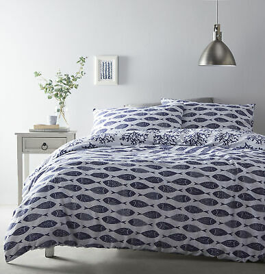 Reversible Blue Nautical Fish Coral Seaside Single Duvet Quilt Cover Bedding Set • 12.49£