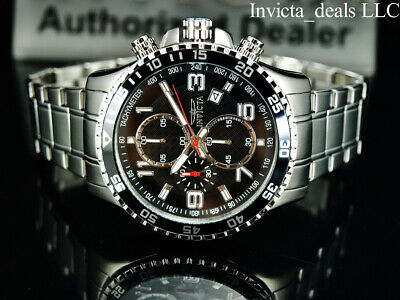 £71.81 • Buy Invicta Men's 45mm PILOT Specialty Chronograph Black Dial Silver Tone SS Watch