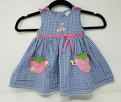 £12.68 • Buy Easter Two Piece Dress Outfit White- Blue Gingham 12M Strawberry Pockets RETRO