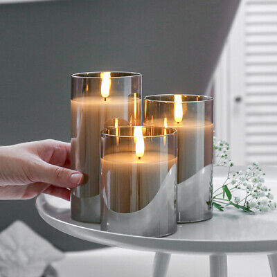 £11.99 • Buy  Authentic Flame Battery Flickering LED Candle Lights Glass Jar Wax | Indoor