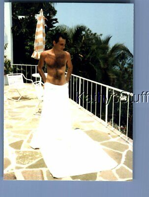$ CDN5.62 • Buy Gay Interest Photo R+4421 Shirtless Hairy Man Posed In Towel On Patio