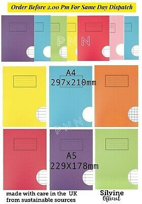 Silvine A4 A5 Exercise Books 80 Pages School Notebooks Class Children Homework • 1.49£