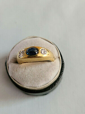 $595 • Buy Estate 18K Solid Yellow Gold Cabochon Sapphhire And Diamond Ring Size 6 3/4