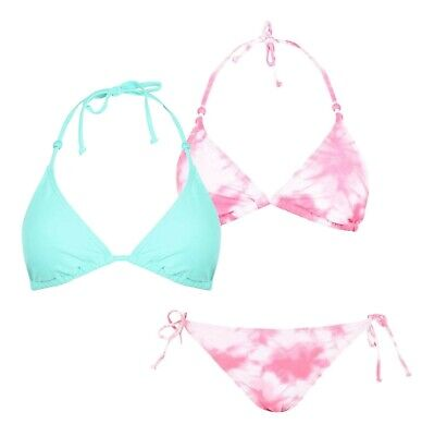 Ladies Gul Stylish Triangle Bikini Top And String Bottoms Set Sizes From 8 To 18 • 13.99£