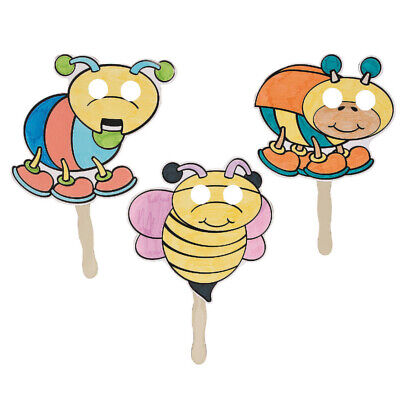 12 Colour In Your Own Bug Masks On Sticks To Decorate For Crafts • 9.06£