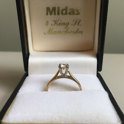 Vintage Diamond Engagement Ring Solitaire Hallmarked 18ct Gold 750 4-Claw Size G • 250£
