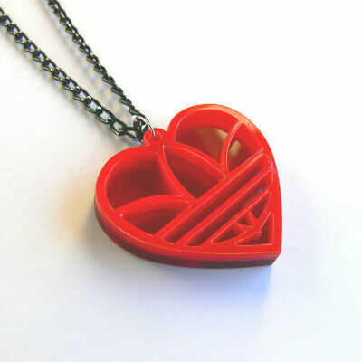£12.89 • Buy Heart Shaped Adidas Necklace Laser Cut Red Acrylic