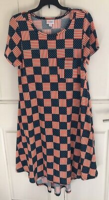LulaRoe American Flag Carly Dress Red White Blue S Excellent • 14.44£