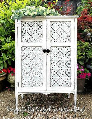 Shabby Chic Cabinet Cupboard Storage Painted Annie Sloan Old White Tile Stencil • 175£