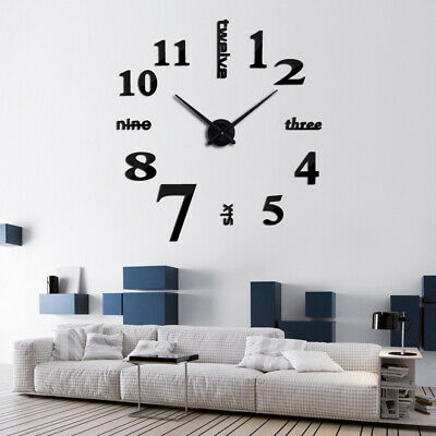 AU15.69 • Buy Large Wall Clock Big Watch Decal 3D Stickers Numeral DIY Wall Home Office Modern