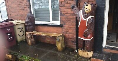 Chainsaw Carved Bear In Stump Carving Bear Ornaments Garden Home • 110£