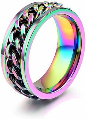 $5.39 • Buy Mens Spinner Ring Rotatable Wedding Engagement Multicolor 6-13 Rings Unisex USA