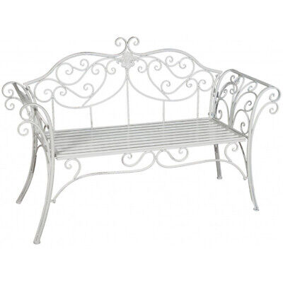 BISCOTTINI Wrought Iron Made Antiqued White Finish W133xDP47xH90 Cm Sized Bench  • 239.99£